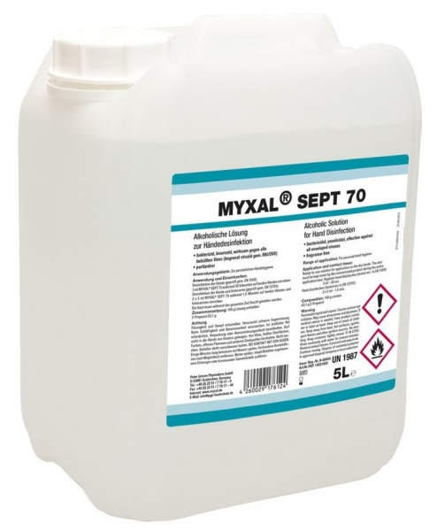 GREVEN-Hand-/Hände-Desinfektion, Myxal Sept 70, 5 ltr. Kan., VE = 3 Kanister