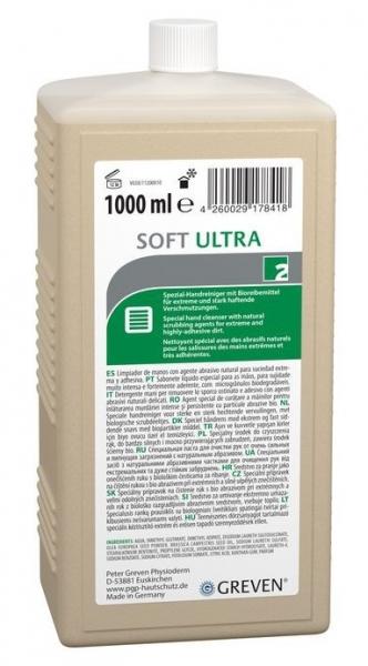 GREVEN-Hand-/Hände-Reiniger, Handreiniger, Soft Ultra, Natur-Reibemittel,  Hartflasche 1 Liter