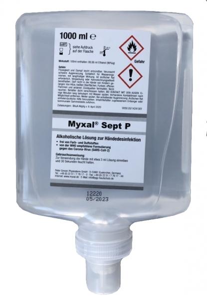 GREVEN-HANDDESINFEKTION, Myxal Sept P, 1000 ml Neptune-Flasche
