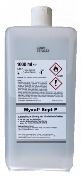 GREVEN-HANDDESINFEKTION, Myxal Sept P, 1000 ml Hartflasche