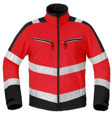 HAVEP-Warnschutz-Softshell-Jacke, 320 g/m², leuchtrot/kohlengrau