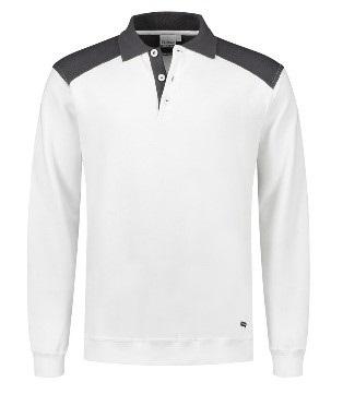 HAVEP-Basic Polo-Sweatshirt, weiss/kohlengrau