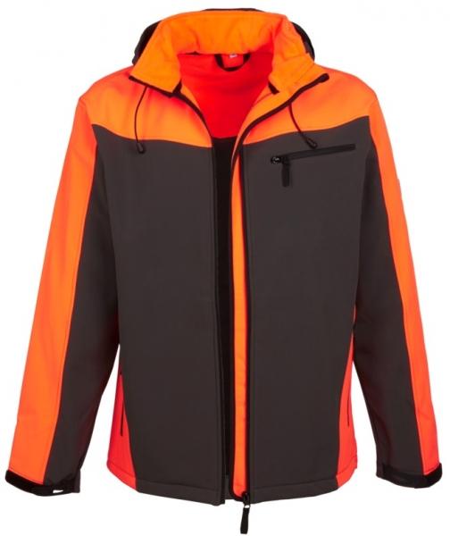 WATEX-Forst-Arbeits-Schutz-Softshell-Berufs-Jacke, grün/leuchtorange,