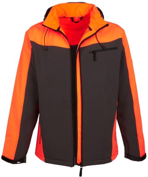 WATEX-Forst-Arbeits-Schutz-Softshell-Berufs-Jacke, gefüttert, grau/leuchtorange,