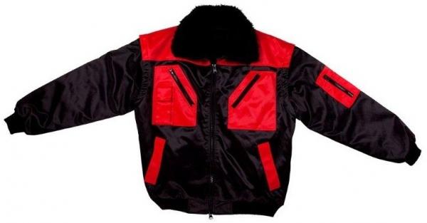 WATEX-Kälte-Schutz, Winter-Arbeits-Berufs-Piloten-Jacke, 2 in 1, schwarz/rot