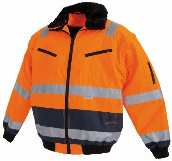 WATEX-Workwear, Warnschutz-Pilotenjacke, leuchtorange/blau,