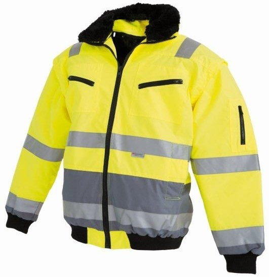 WATEX-Workwear, Warnschutz-Pilotenjacke, leuchtgelb/grau,