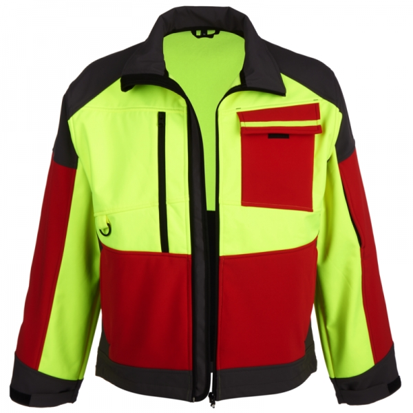 WATEX-Softshelljacke, Forest Jack Red, leuchtgelb/rot/grau
