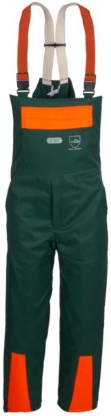 WATEX-Workwear, Forstschutz-Schnittschutz-Latzhose, grün/leuchtorange,