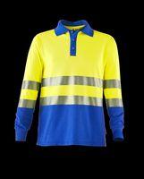 ROFA-Warn-Schutz--Poloshirt, langarm, Multinormen, ca. 220 g/m², leuchtgelb-kornblau