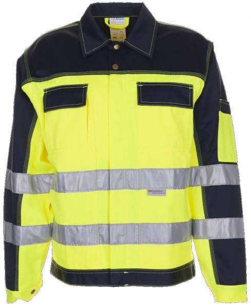 PLANAM Warn-Schutz-Arbeits-Berufs-Bund-Jacke kontrast, Warnschutz-Bekleidung, MG 290, gelb/ma
