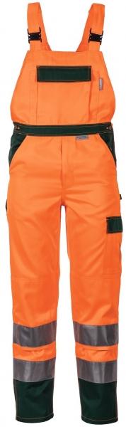 PLANAM Arbeits-Berufs-Latz-Hose kontrast, Warn-Schutz-Bekleidung orange/grün