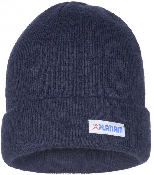 PLANAM Winter-Strick-Mütze, mit Umschlag, marine