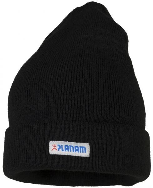PLANAM-Winter-Strick-Mütze, mit Umschlag, schwarz