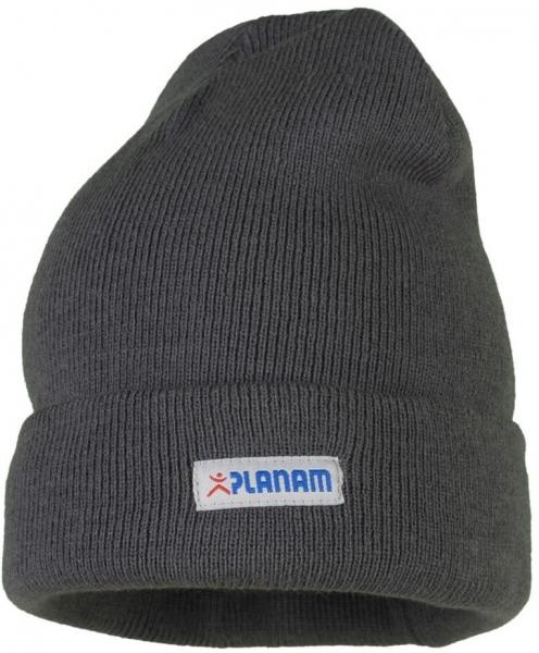 PLANAM Winter-Strick-Mütze mit Umschlag, schiefer
