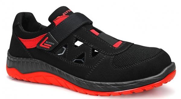 ELTEN-S1P-Arbeits-Berufs-Sicherheits-Sandalen, LONNY red Easy, schwarz/rot