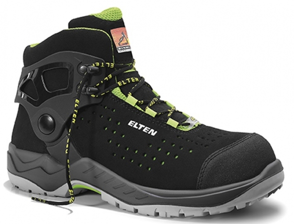 ELTEN-S1-Schnürstiefel, Sicherheits-Arbeits-Berufs-Schuhe, Hochschuhe, TOMMASO green Mid, ESD, schwarz