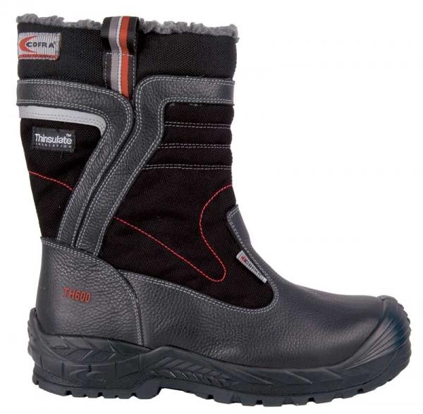 COFRA-GINNAR, S3, CI, WR, HRO, SRC, Sicherheits-Arbeits-Berufs-Schuhe, Schlupfstiefel, schwarz
