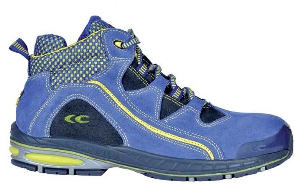 COFRA-BOWLED, S1 P, SRC, Sicherheits-Arbeits-Berufs-Schuhe, Hochschuhe, blau/gelb