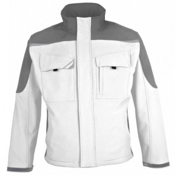 PKA Winter-Softshell-Arbeits-Berufs-Jacke Bestwork, weiß/grau
