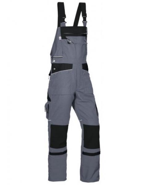 PKA Arbeits-Berufs-Latz-Hose Threeline De Luxe, MG330, grau/schwarz