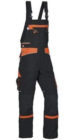PKA Arbeits-Berufs-Latz-Hose Threeline De Luxe, MG330, schwarz/orange
