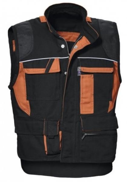 PKA Arbeits-Berufs-Weste, Threeline De Luxe, 330 g/m², schwarz/orange