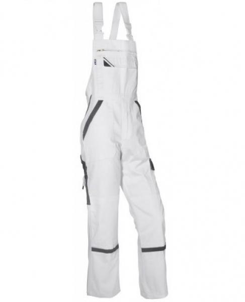PKA Elastik-Arbeits-Berufs-Latz-Hose Threeline Perfekt, MG320, weiß/grau