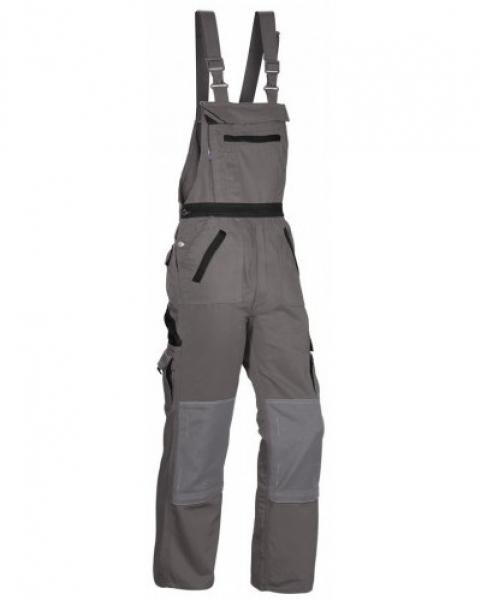 PKA Arbeits-Berufs-Latz-Hose Threeline Image, MG330, grau/schwarz