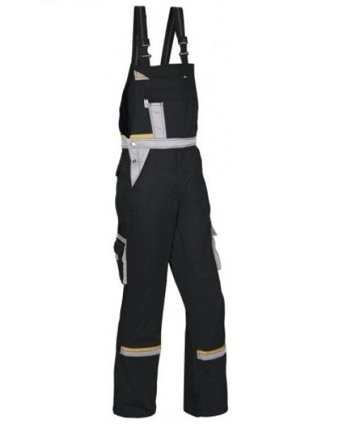 PKA Arbeits-Berufs-Latz-Hose Magic, MG270, schwarz/grau/gelb