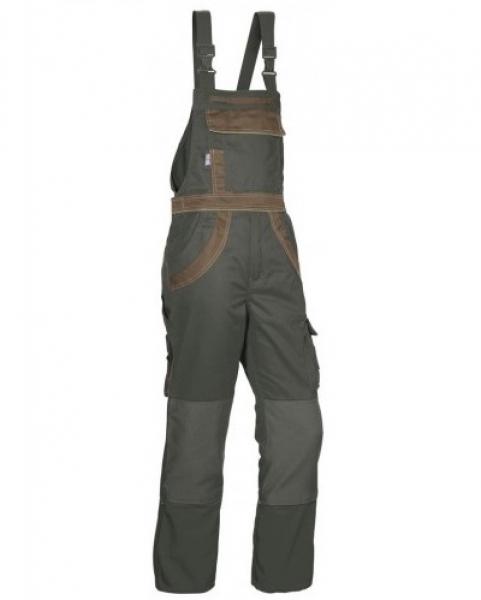 PKA Arbeits-Berufs-Latz-Hose Threeline Plus, MG280, oliv/braun