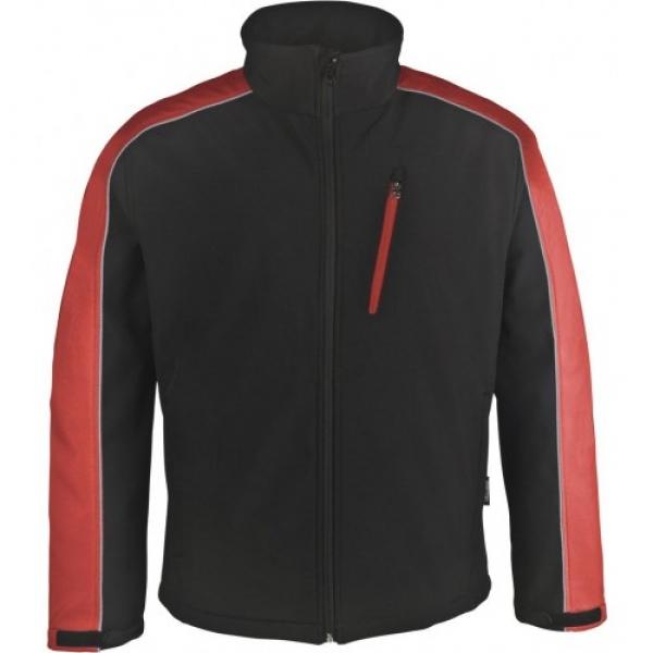 PKA Winter-Softshell-Arbeits-Berufs-Jacke, schwarz/rot