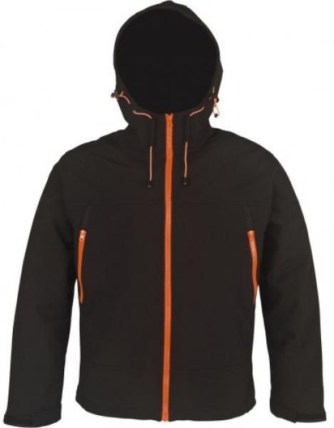 PKA Winter-Softshell-Arbeits-Berufs-Jacke mit Kapuze, schwarz/Applikation orange