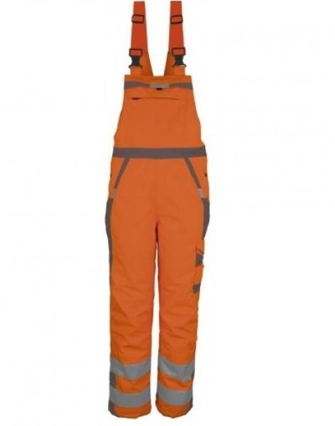 PKA-Winter-Warn-Schutz-Arbeits-Berufs-Latz-Hose, ca. 280g/qm, orange/grau