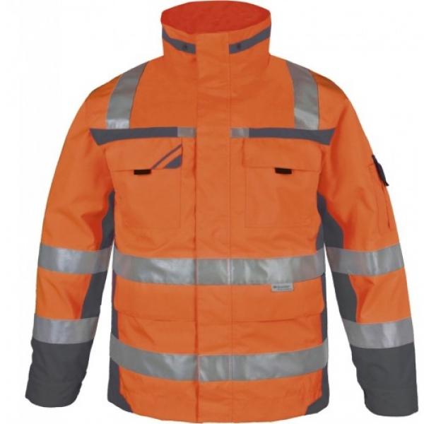 PKA-Winter-Warn-Schutz-Arbeits-Berufs-Parka, ca. 280g/qm, orange/grau
