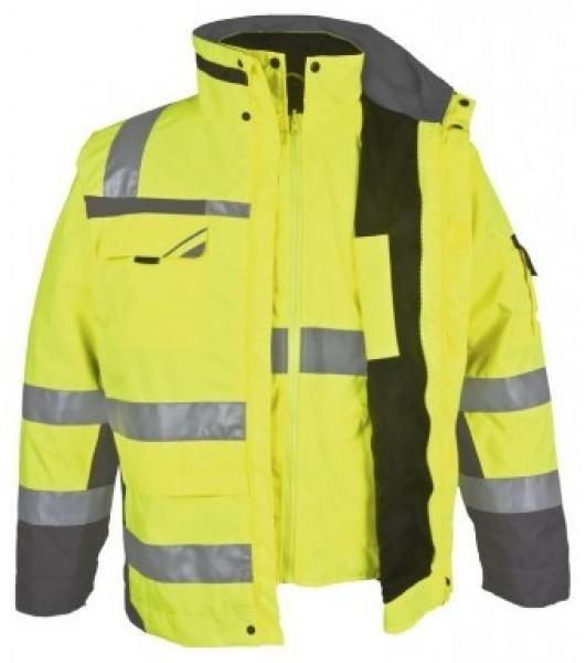 PKA-Winter-Warn-Schutz-Arbeits-Berufs-Parka 3in1, ca. 280g/qm, gelb/grau