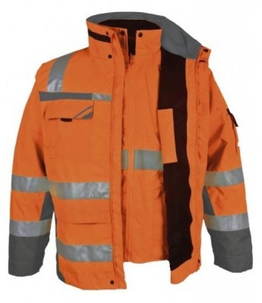 PKA-Winter-Warn-Schutz-Arbeits-Berufs-Parka 3in1, ca. 280g/qm, orange/grau