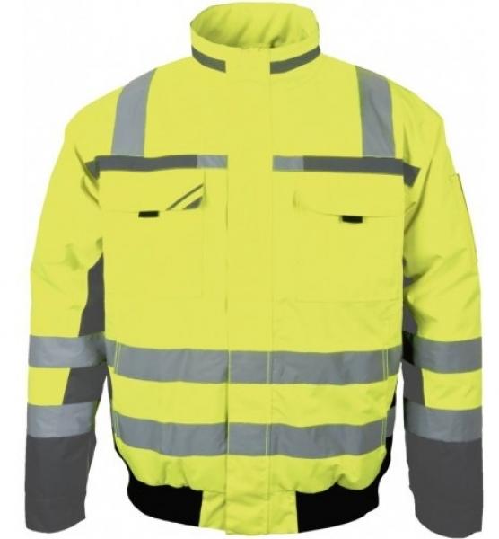 PKA-Winter-Warn-Schutz-Piloten-Arbeits-Berufs-Jacke, ca. 280g/qm, gelb/grau