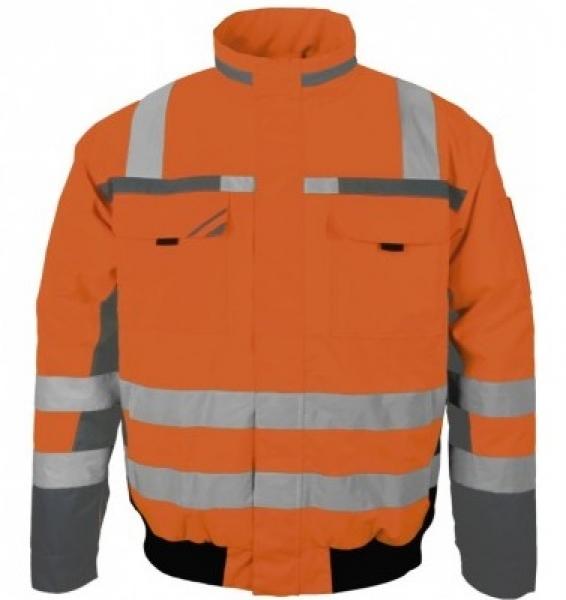 PKA-Winter-Warn-Schutz-Piloten-Arbeits-Berufs-Jacke, ca. 280g/qm, orange/grau
