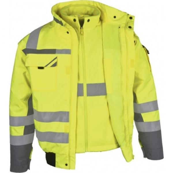 PKA-Winter-Warn-Schutz-Piloten-Arbeits-Berufs-Jacke, 3in1, ca. 280g/qm, gelb/grau