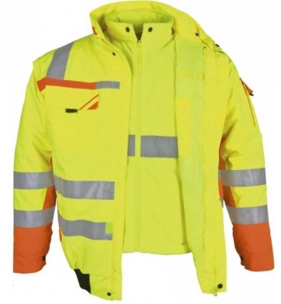 PKA-Winter-Warn-Schutz-Piloten-Arbeits-Berufs-Jacke, 3in1, ca. 280g/qm, gelb/oran