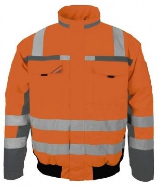PKA-Winter-Warn-Schutz-Piloten-Arbeits-Berufs-Jacke, 3in1, ca. 280g/qm, orange/gr