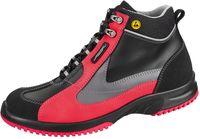 ABEBA-Uni6-S2-Damen- u. Herren-Sicherheits-Arbeits-Berufs-Schuhe, hoch, Schnürstiefel, ESD, schwarz/rot