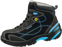 ABEBA-Crawler-Stahl-S2-Damen- u. Herren-Sicherheits-Arbeits-Berufs-Schuhe, hoch, Schnürstiefel, ESD, schwarz/blau