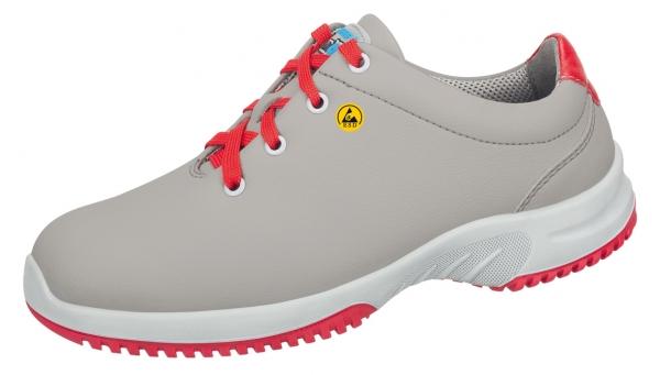 ABEBA-Uni6-O2-Damen- und Herren-Arbeits-Berufs-Schuhe, ESD, grau/rot