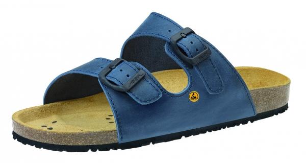ABEBA-Nature-OB-Damen- u. Herren-Arbeits-Berufs-Pantolette, ESD, blau