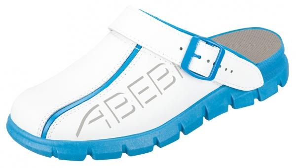 ABEBA-Dynamic-OB-Damen- u. Herren-Arbeits-Berufs-Slipper, weiß/blau