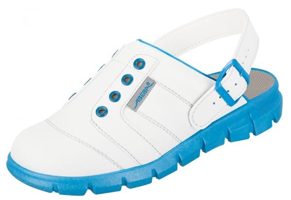 ABEBA-Dynamic-OB-A-micro-Damen- und Herrenclog, weiß/blau