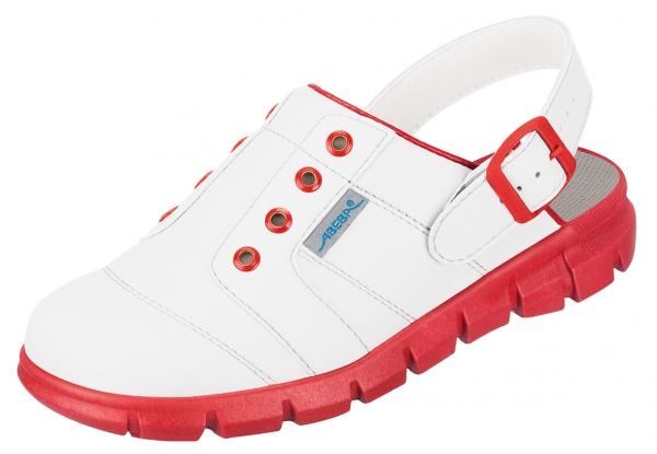 ABEBA-Dynamic-OB-A-micro-Damen- und Herrenclog, weiß/rot