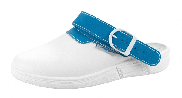 ABEBA-The Original-OB-Damen- u. Herrenclog, weiß/blau